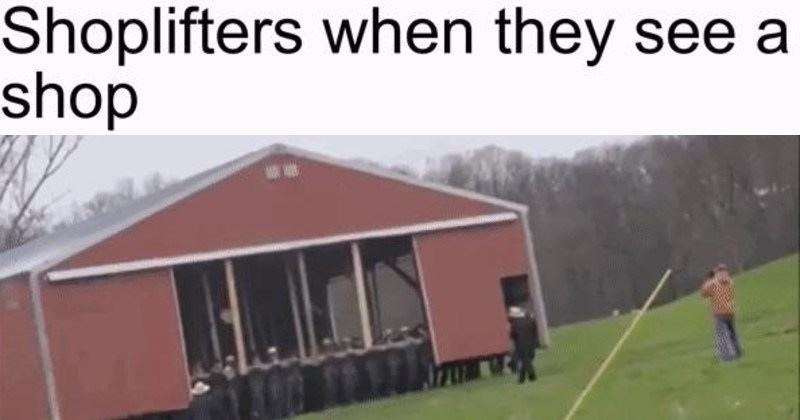 funny, literal and technically accurate moments | Shoplifters they see shop Amish people lifting picking up a barn building and moving it