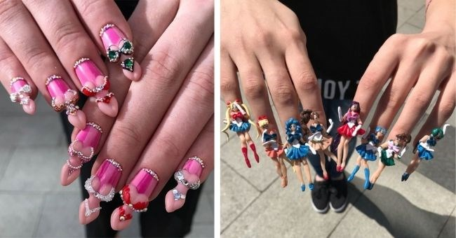 pictures of crazy nail art from russian salon - thumbnail includes two pictures of nail designs women's bodies in bikinis and sailor moon characters