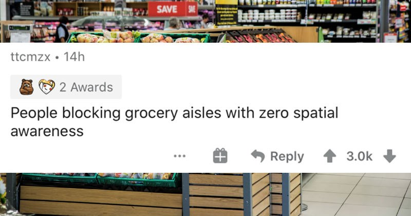 People describe the small things that enrage them to no end | ttcmzx 14h 2 Awards People blocking grocery aisles with zero spatial awareness Reply 3.0k