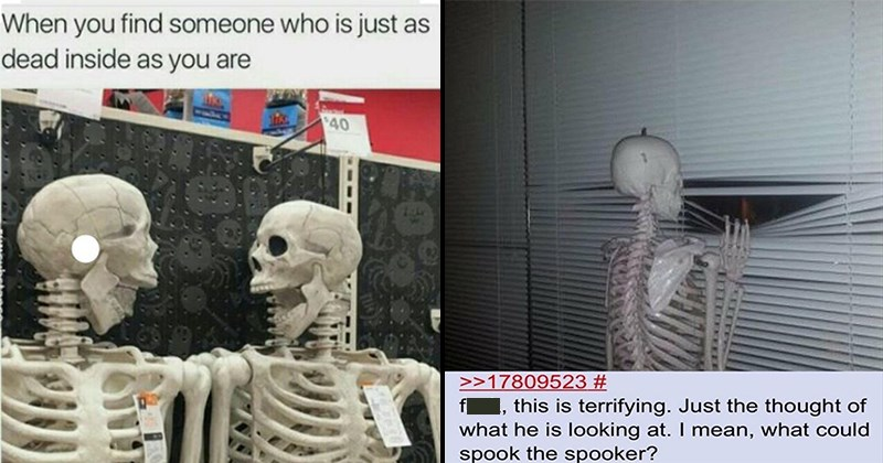 Spooky Memes, Halloween Memes, Funny Memes, Dank Memes, Holiday Season, Skeleton Memes | find someone who is just as dead inside as are | fuck, this is terrifying. Just thought he is looking at mean could spook spooker?