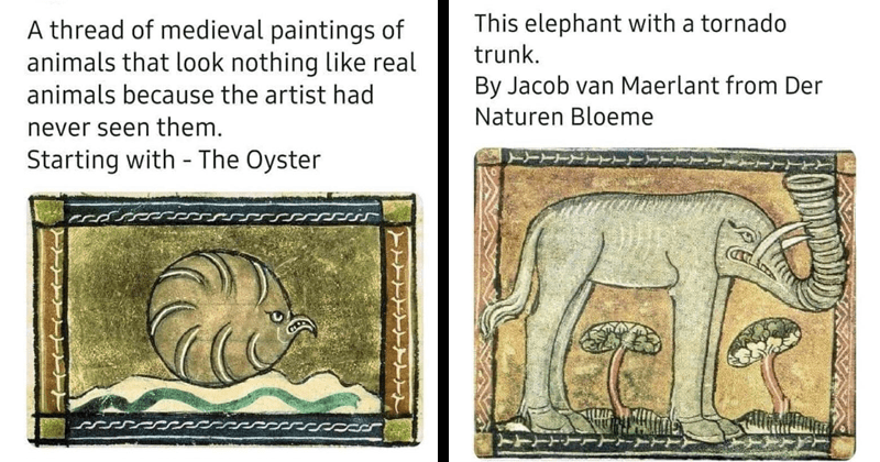 Funny Twitter thread about how medieval artists didnt know what animals looked like, had to guess or get creative | Daniel Holland @DannyDutch thread medieval paintings animals look nothing like real animals because artist had never seen them. Starting with Oyster | This elephant with tornado trunk. By Jacob van Maerlant Der Naturen Bloeme