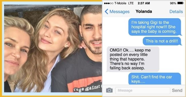 satirical text conversation between Zayn and Yolanda Hadid when Gigi gave birth - thumbnail includes pictures of zayn, gigi and yolanda and their text conversation | taking Gigi hospital right now She says baby is coming real, this time. This is not drill OMG Ok keep posted on every little thing happens. There's no way falling back asleep. Shit. Can't find car keys Do know where they are? Gigi's freaking out DID FALL ASLEEP? YOLANDA Found them