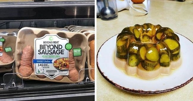 pictures of food which will make you feel uncomfortable | thumbnail includes two pictures packet of sausages and pickle jello