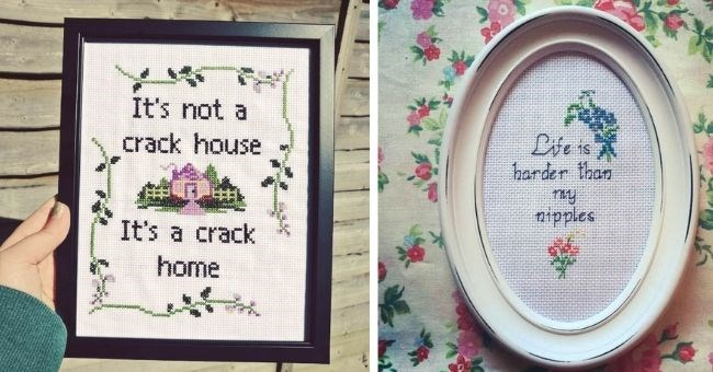 pictures of rude cross stich designs | thumbnail includes two pictures of cross stiches Text - It's not a crack house It's a crack home, Life is harder than nipples