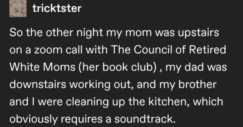 "A funny Tumblr thread about a daughter accidentally crashing her mom's virtual book club | tricktster So other night my mom upstairs on zoom call with Council Retired White Moms (her book club my dad downstairs working out, and my brother and were cleaning up kitchen, which obviously requires soundtrack. Now know sometimes like ""alexa, play song and she's like ""playing totally different song] on TST's spotify or maybe she just decides play literally nothing instead? My workaround"