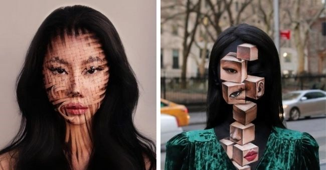 Korean makeup artist creates mind-blowing optical illusions | thumbnail includes two pictures of face with makeup