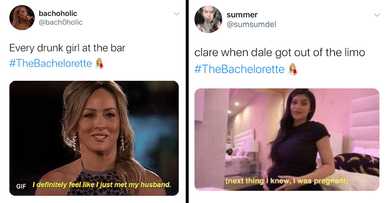 Funny tweets, twitter reactions to the bachelorette, clare crawley, chris harrison | bachoholic @bachOholic Every drunk girl at the bar #TheBachelorette GIF definitely feel like just my husband. summer @sumsumdel clare when dale got out of the limo #TheBacheIorette next thing knew i was pregnant