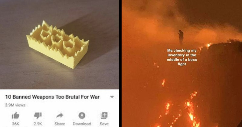 Funny Memes, Relatable Memes, Silly Memes, Dumb Jokes, Nerdy Memes, Dank Memes | 10 Banned Weapons Too Brutal War sharp lego piece with jagged ends | checking my inventory middle boss fight person standing on top of a volcano