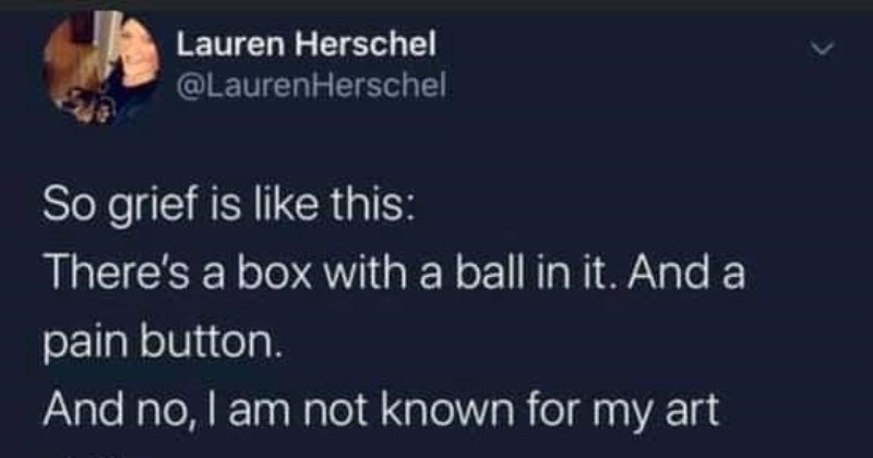 A quick Twitter thread breaks down the grieving process | Lauren Herschel @LaurenHerschel So grief is like this: There's box with ball And pain button. And no am not known my art skills BALL AND BOX BALL PAIN BUTTON