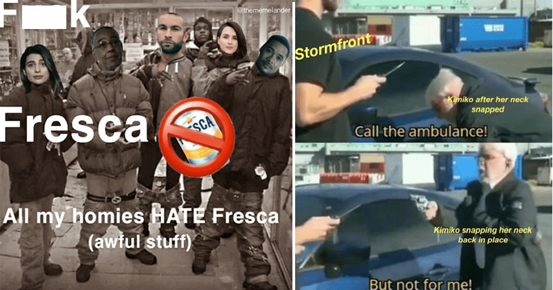 Funny memes about Amazon's the boys, karl urban, homelander, death, fresca | Fuck @thememelander Fresca All my homies HATE Fresca (awful stuff) | Stormfront Kimiko after her neck snapped Call ambulance! Kimiko snapping her neck back place But not for me