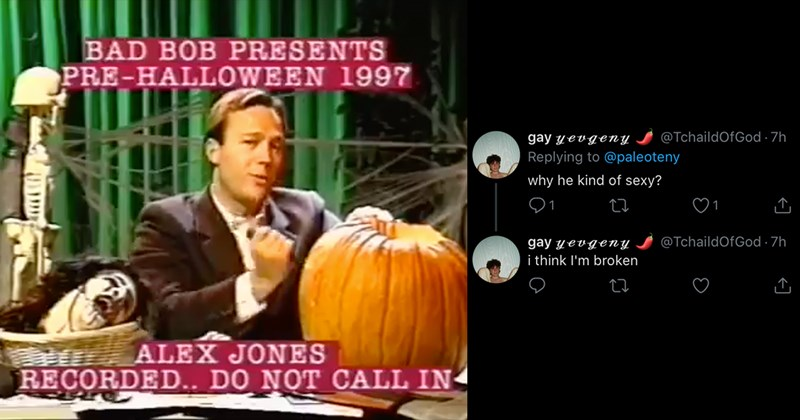 Funny Tweets, Twitter Thread, Funny Video, Halloween, Alex Jones | Replying to @paleoteny Why's he kinda cute tho screenshot of a young Alex Jones