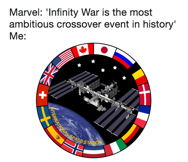 top weekly history memes | Clock - Marvel Infinity War is most ambitious crossover event history RNATIONAL SPAGE STATION