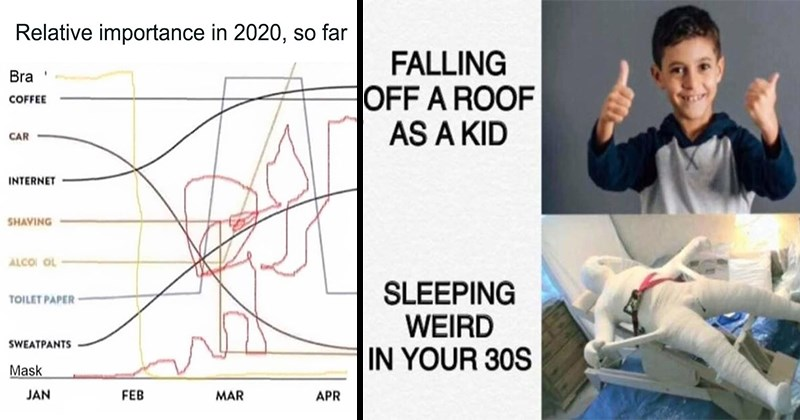 Funny Memes, Dank Memes, Relatable Memes, Depression Memes, Puns | Relative importance 2020, so far Bra COFFEE CAR INTERNET SHAVING ALCOI OL TOILET PAPER SWEATPANTS Mask JAN FEB MAR APR