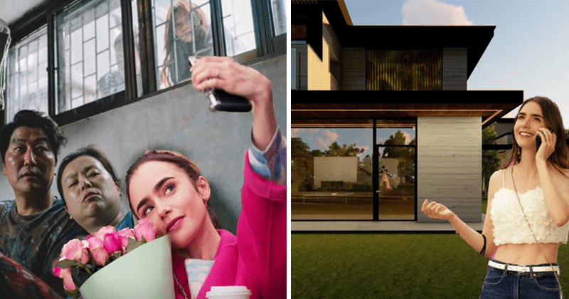 Funny account @emilyinparasite criticizes Emily in Paris, mashup, photoshop emily into stills from Bong Joon-ho's parasite   Lily Collins taking selfie with Parasite actors and outside the house from the movie