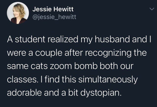 top weekly tweets from white people twitter | Person - Jessie Hewitt @jessie_hewitt student realized my husband and were couple after recognizing same cats zoom bomb both our classes find this simultaneously adorable and bit dystopian.