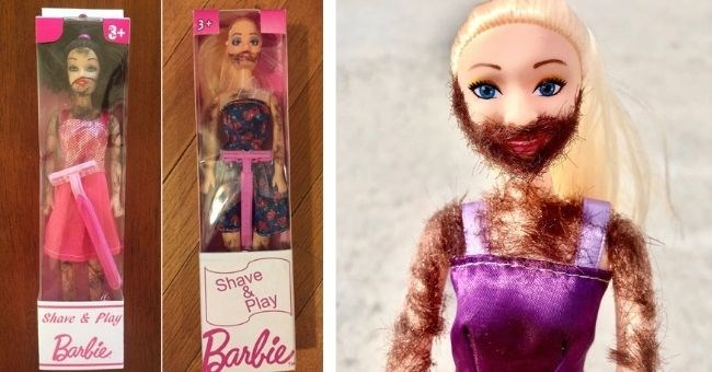 shave and play barbie doll for 2020 ~ thumbnail includes two pictures of barbie dolls with hairy bodies and faces and a razor included in the box