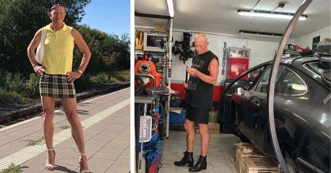 pictures of happily married straight guy who wears skirt and heels | thumbnail includes two pictures of man in skirt and heels