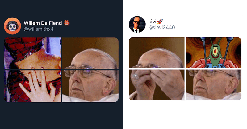 Funny dank twitter memes featuring Pope Francis, funny tweets | tweets made up of four 4 panels of a picture pope Francis removing his head to reveal his brain is controlled by Plankton and kissing Spider Man upside down