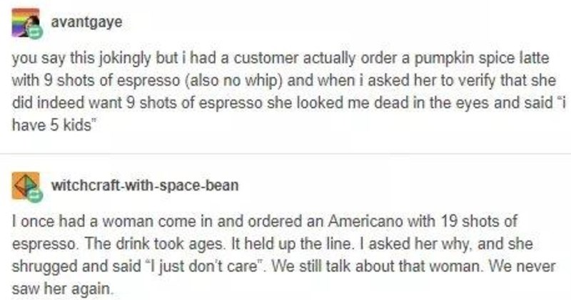 Tumblr thread on customers crazy coffee orders