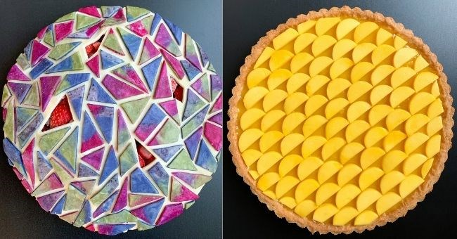 self-taught baker creates insane geometric pies | thumbnail includes two pictures of pies aesthetically pleasing Passion Fruit Curd Tart Monochromatic Mango | Strawberry Blackberry Tangram Pie