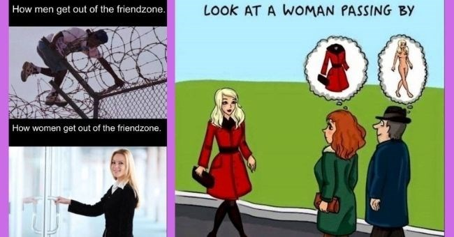 funny and relatable women vs. men memes || thumbnail includes two memes Text - How men get out of the friendzone. How women get out of the friendzone.