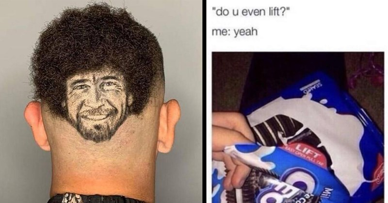 Funny Memes, Dank Memes, Random Memes, Nerdy Memes, Cat Memes | do u even lift yeah SEALED LIFT OPEN Cookie Milk Oreo | person with Bob Ross' face shaved into the back of their heads