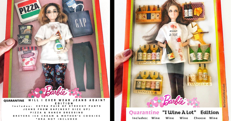 Funny Quarantine Barbies, self-deprecating, lockdown, dolls, instagram, eating, drinking, coping, gardening, baking bread