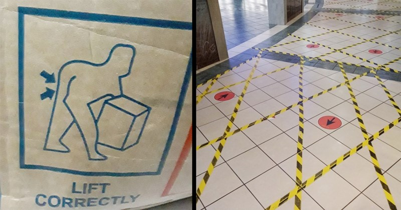 Bad Design, Design Fail, Funny, Cursed Images, Cringe, Facepalm, Funny | LIFT CORRECTLY illustration of a person bending down to lift something heavy | unclear markings on the floor