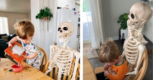 toddler befriends parent's Halloween decorative skeleton and now won't leave it alone | thumbnail includes two pictures of toddler with skeleton