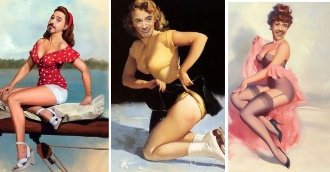 funny pictures of Robert Downey Jr. as vintage pin-up girls | thumbnail includes 3 images of Robert Downey, Jr as Pin-up girls