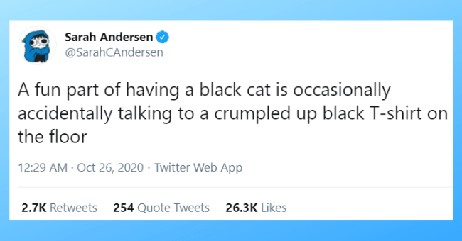 this week's best cat tweets thumbnail includes one tweet 'Text - Sarah Andersen 000 @SarahCAndersen A fun part of having a black cat is occasionally accidentally talking to a crumpled up black T-shirt on the floor 12:29 AM Oct 26, 2020 · Twitter Web App 2.7K Retweets 254 Quote Tweets 26.3K Likes'