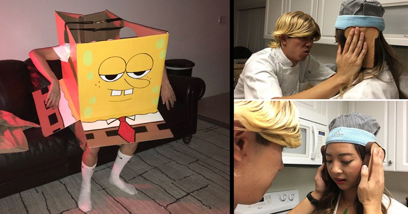 Funny Memes, Memes, Halloween Costumes, Costume Ideas, Halloween, Funny Pics | person dressed as Spongebob in the Ight Imma Head Out meme | two people recreating the Gordon Ramsay Idiot Sandwich moment