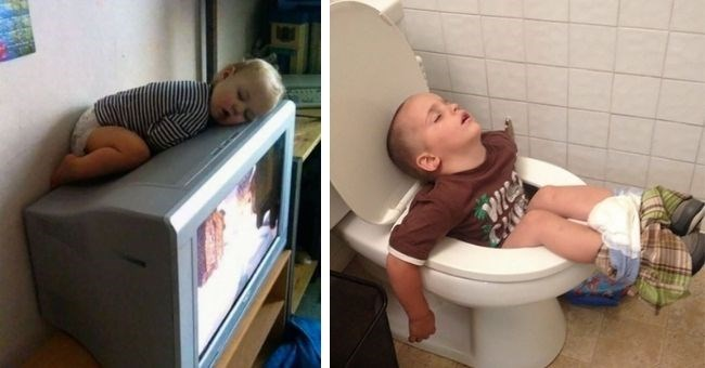 funny pictures of kids falling asleep everywhere | thumbnail includes two pictures of kids falling asleep on a TV and on the toilet