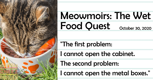 "the fourth entry of meowmoirs diary of a cat about discovering wet food thumbnail includes a picture of a cat eating the name of the entry and a quote from it 'Cat - Meowmoirs: The Wet Food Quest October 30, 2020 ""The first problem: I cannot open the cabinet. The second problem: I cannot open the metal boxes."" %3D BURGER'"