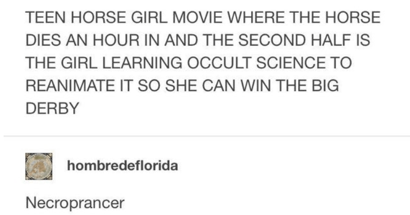 silly and stupid puns | normal-horoscopes TEEN HORSE GIRL MOVIE WHERE HORSE DIES AN HOUR AND SECOND HALF IS GIRL LEARNING OCCULT SCIENCE REANIMATE SO SHE CAN WIN BIG DERBY hombredeflorida Necroprancer normal-horoscopes TAGLINE CANT BEAT THIS DEAD HORSE Source: normal-horoscopes #HORRIBLE LAUGH 121,487 notes