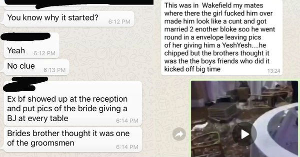 Videos, screen grabs and twitter posts of a wedding in which an EX showed up and passed out photos of the bridge giving BJs and someone thought it was one of the groomsman and a fight broke out.