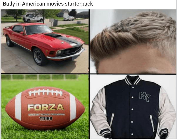 funny starter packs, starer packs, starter pack meme, relatable memes | Outerwear - Bully American movies starterpack NY FORZA TD180