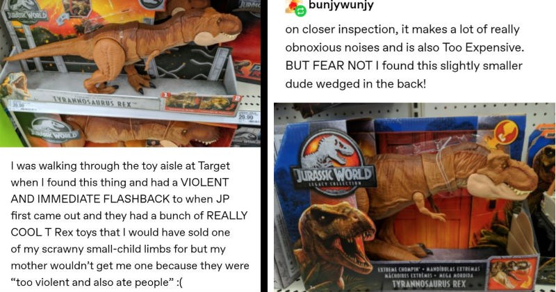 """A funny Tumblr thread about the ridiculous adventures of a toy T-Rex 