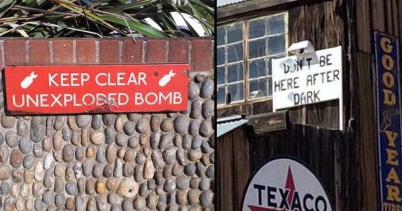 warning signs that are very scary | KEEP CLEAR UNEXPLODED BOMB | don't be here after dark