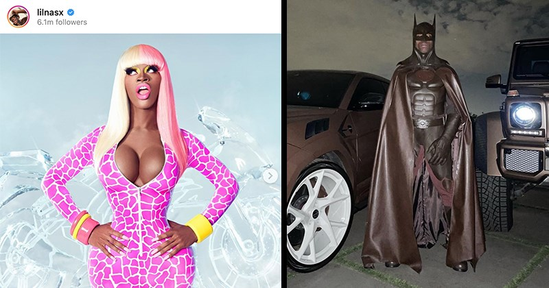 2020, halloween, halloween costumes, 2020 costumes, celebrities, celebs, memes | Lil Nas X dressed as Nicki Minaj in the Super Bass music video | Travis Scott as brown bronze Batman