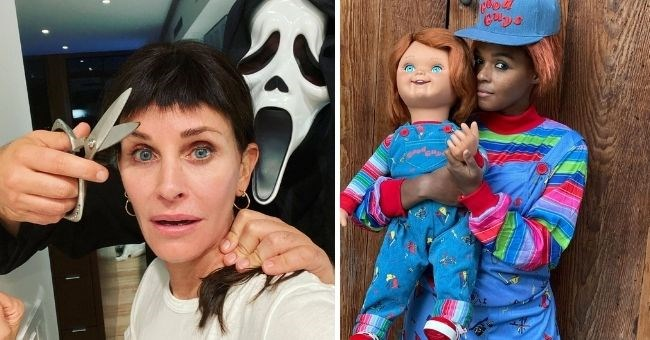 most creative celebrity Halloween costumes of 2020 | thumbnail includes two images of Courtney Cox as her haircut from Scream and Janelle Monae as Chucky