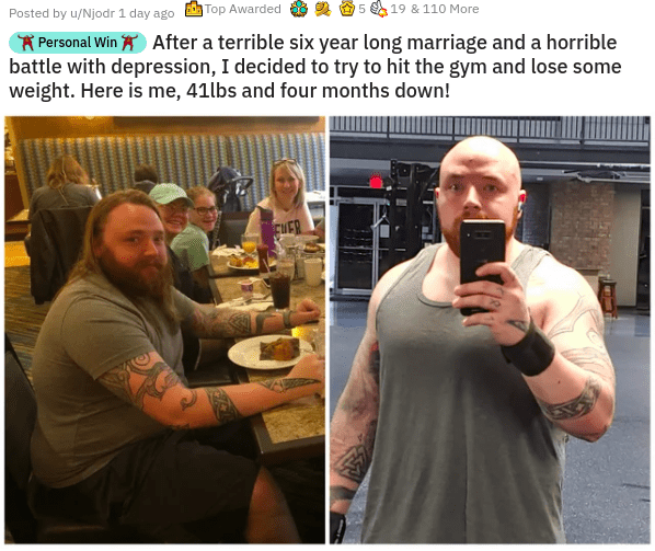 uplifting heartwarming inspirational pics and memes that will make you smile reasons to smile faith in humanity restored | Posted by u/Njodr 1 day ago Top Awarded 5 19 110 More Personal Win After terrible six year long marriage and horrible battle with depression decided try hit gym and lose some weight. Here is 41lbs and four months down!