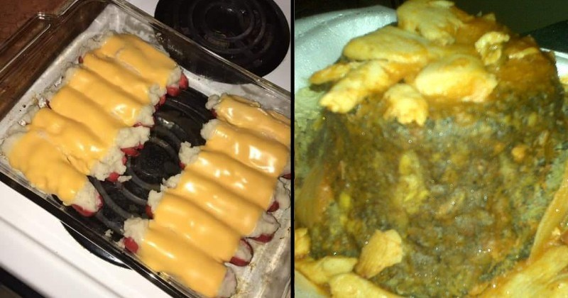 horrible gross looking cursed food | hot dogs covered in mashed potatoes and wrapped in melted cheese | green meatloaf tower decorated with chunks of chicken