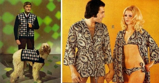 ridiculous matching 1970s outfits } thumbnail includes pictures of man and dog matching and man and woman in bikini matching