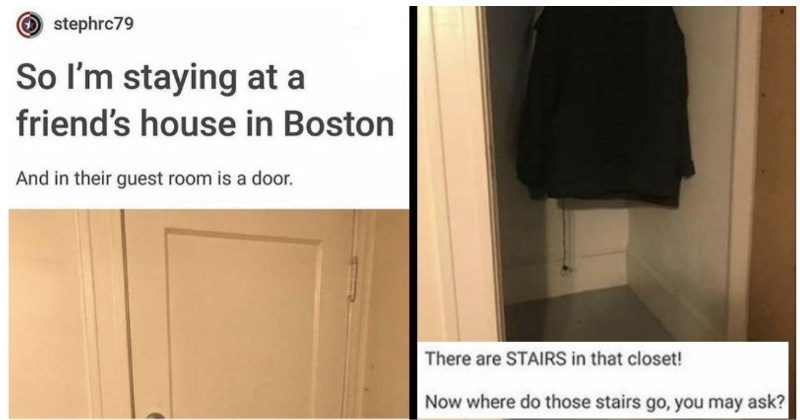 A creepy Tumblr post about a house guest discovering a hidden staircase | stephrc79 So l'm staying at friend's house Boston And their guest room is door. There are STAIRS closet! Now where do those stairs go may ask?