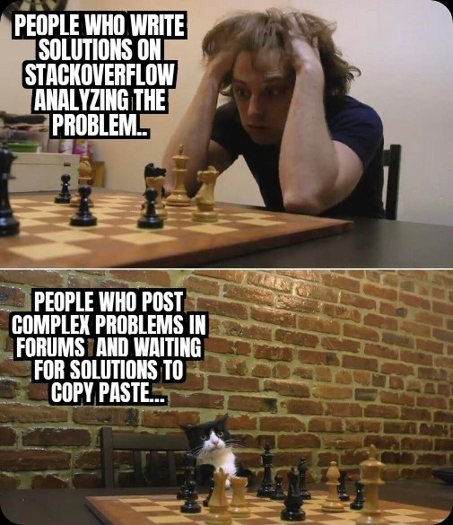 funny relatable memes and jokes about programming and coding developers back end front end cs java javascript machine learning | PEOPLE WHO WRITE SOLUTIONS ONI STACKOVERFLOW ANALYZING PROBLEM. PEOPLE WHO POST COMPLEX PROBLEMS FORUMS AND WAITING SOLUTIONS COPY PASTE. cat playing chess