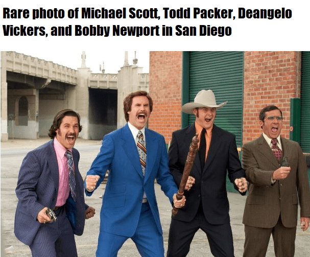 funny office memes, office memes | Hat - Rare photo Michael Scott, Todd Packer, Deangelo Vickers, and Bobby Newport San Diego
