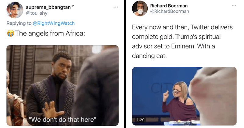 Funny twitter memes about paula white speaking in tongues, trump's spiritual advisor, remixes, funny | The angels from Africa: we don't do that here Black Panther | Every now and then, Twitter delivers complete gold. Trump's spiritual advisor set to Eminem. With a dancing cat.