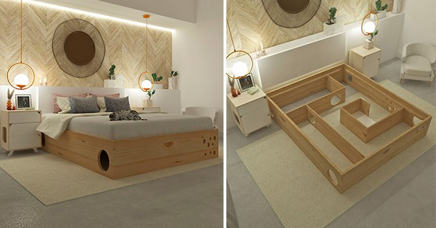 new bed frame that comes with an internal maze for cats - thumbnail includes two images of the maze bed for cats