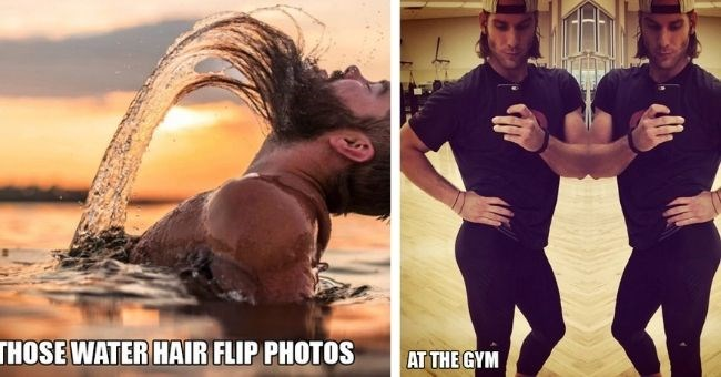 pictures of men copying typical women's poses in photos | thumbnail includes two pictures of men flipping hair and posing at the gym | guy with long beard jumping out of water